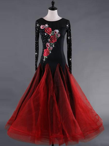 Milanoo Ballroom Dance Dresses Costume Women Long Sleeve Black Beading Organza Training Dancing Clothes