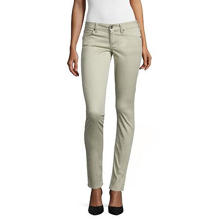 Arizona Sateen Womens Low Rise Slim Pant-Juniors, 17 , Brown