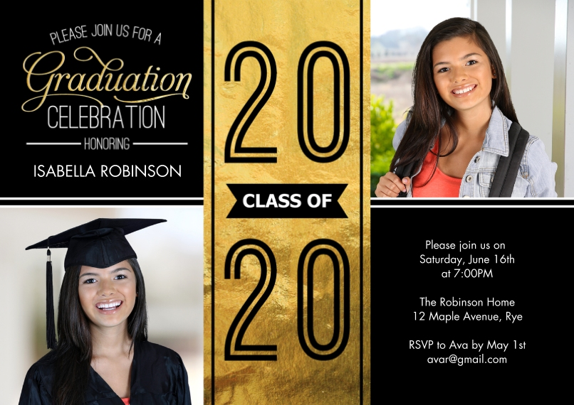 2020 Graduation Invitations 5x7 Cards, Premium Cardstock 120lb with Rounded Corners, Card & Stationery -Grad 2020 Party Celebration by Tumbalina