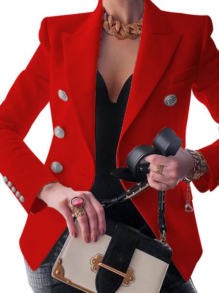 Milanoo Women Casual Blazer White Turndown Collar Long Sleeves Buttons Short Blazers