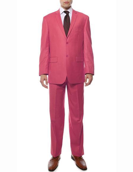 Men's Fuchsia 2 Button Regular Fit Notch Lapel Single Side Vent Suit