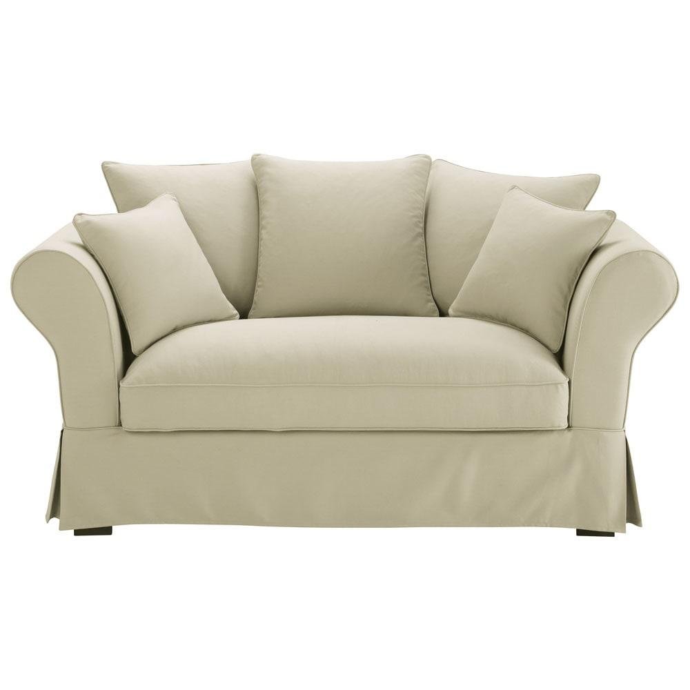 Sofa 2-/3-Sitzer aus Baumwolle, graubeige Roma