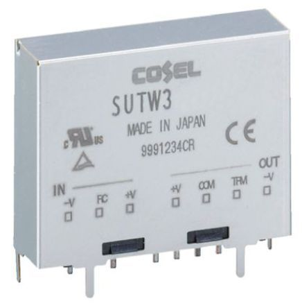 Cosel 3W Isolated DC-DC Converter Through Hole, Voltage in 9 → 18 V dc, Voltage out ±15V dc