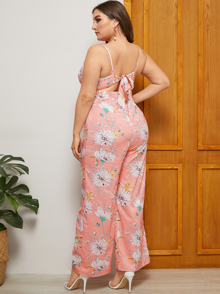 YOINS Plus Size Pink Backless Design Floral Print Sleeveless Jumpsuit