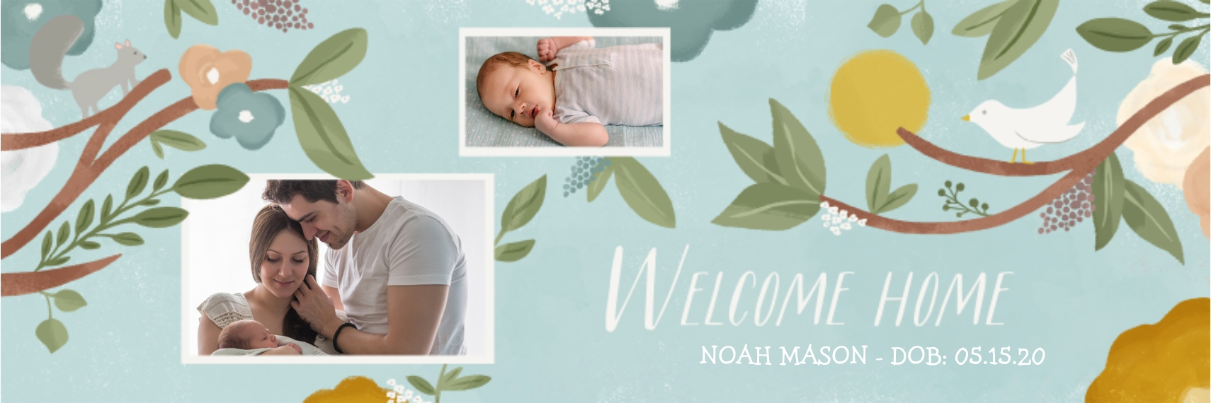 Baby + Kids 1x3 Adhesive Banner, Home Décor -Watercolor Welcome