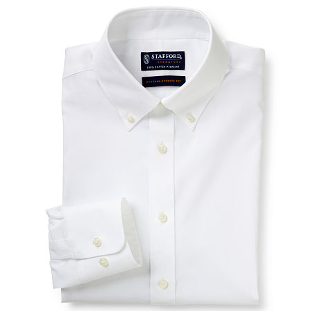 Stafford Mens Non-Iron Cotton Button Down Collar Big and Tall Dress Shirt, 18.5 38-39, White