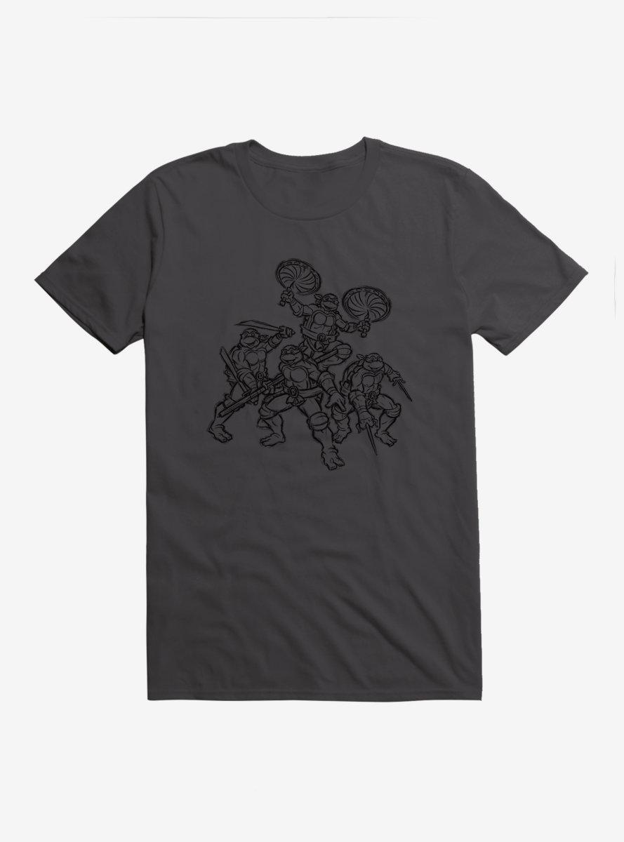 Teenage Mutant Ninja Turtles Group Battle Outline T-Shirt