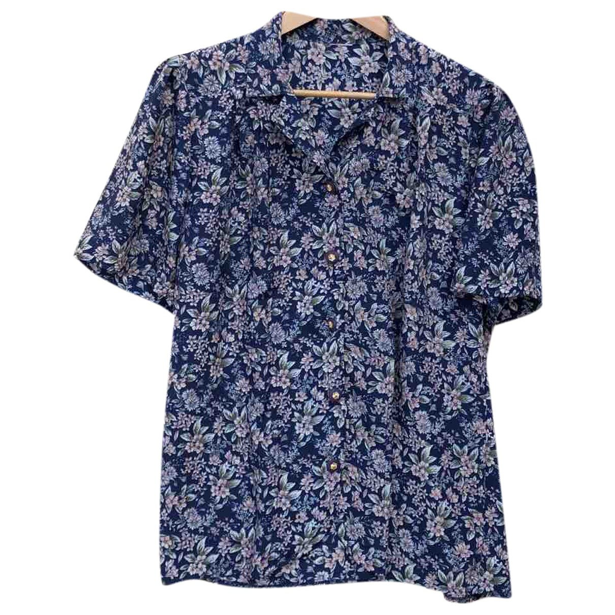 Non Signé / Unsigned Hippie Chic Blue Silk  top for Women S International