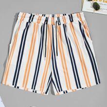 Shorts mit buntem Streifen und Kordelzug