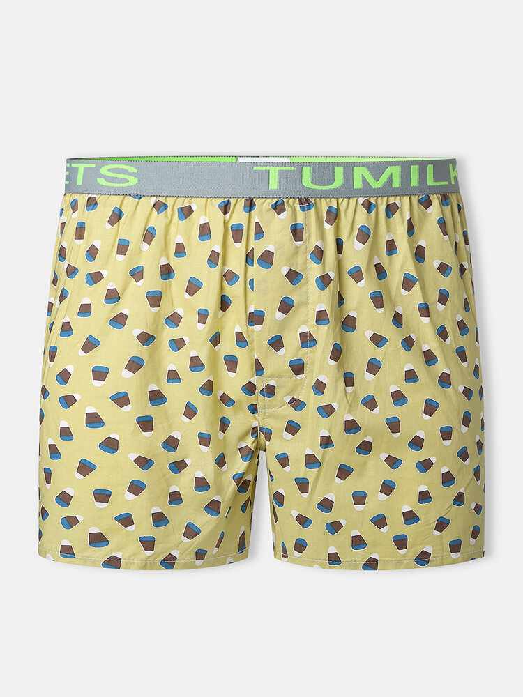 Funny Printed Cotton Loose Letter Print Mid Waist Underpants Button Crotch Boxer Shorts For Men