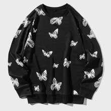 Men Butterfly Print Round Neck Sweatshirt