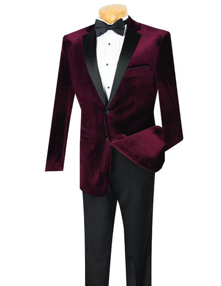 Mens 2 Button Wine Velvet Tuxedo