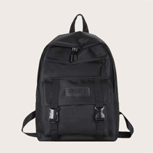 Solid Buckle Backpack