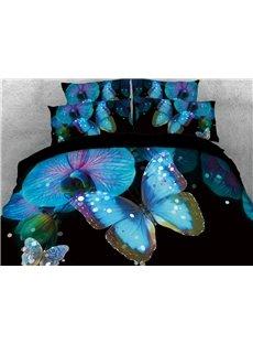 Vivilinen 3D Blue Butterfly with Flower Printed 4-Piece Black Bedding Sets/Duvet Covers