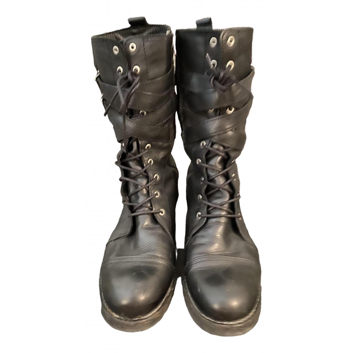 Zara - Bottes   pour femme en cuir - noir