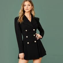 Notch Collar Double Breasted Blazer Dress