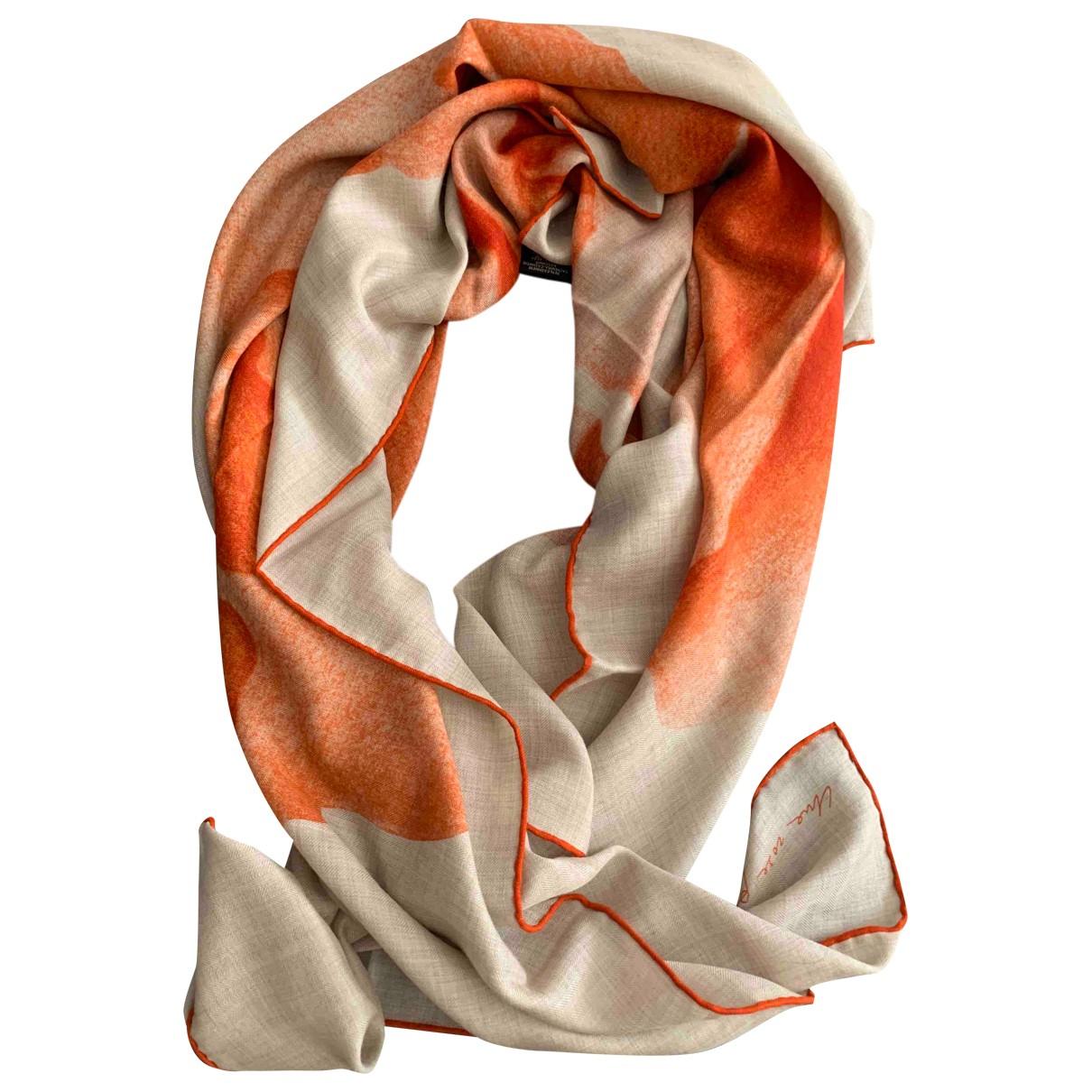 Hermes - Foulard Chale 140 pour femme en cachemire - orange