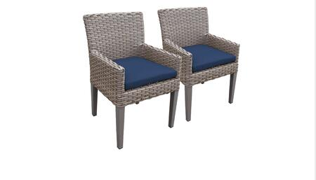 Florence Collection FLORENCE-TKC297b-DC-C-NAVY 2 Dining Chairs With Arms - Grey and Navy
