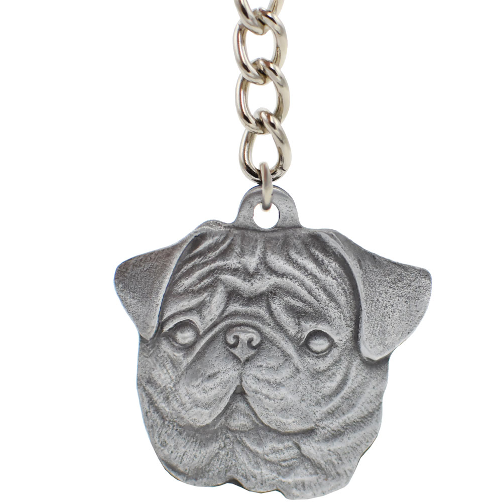 Dog Breed Keychain USA Pewter - Pug (2.5