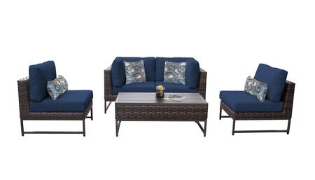 Barcelona BARCELONA-05d-BRN-NAVY 5-Piece Patio Set 05d with 2 Corner Chairs  2 Armless Chairs and 1 Coffee Table - Beige and Navy Covers with Brown