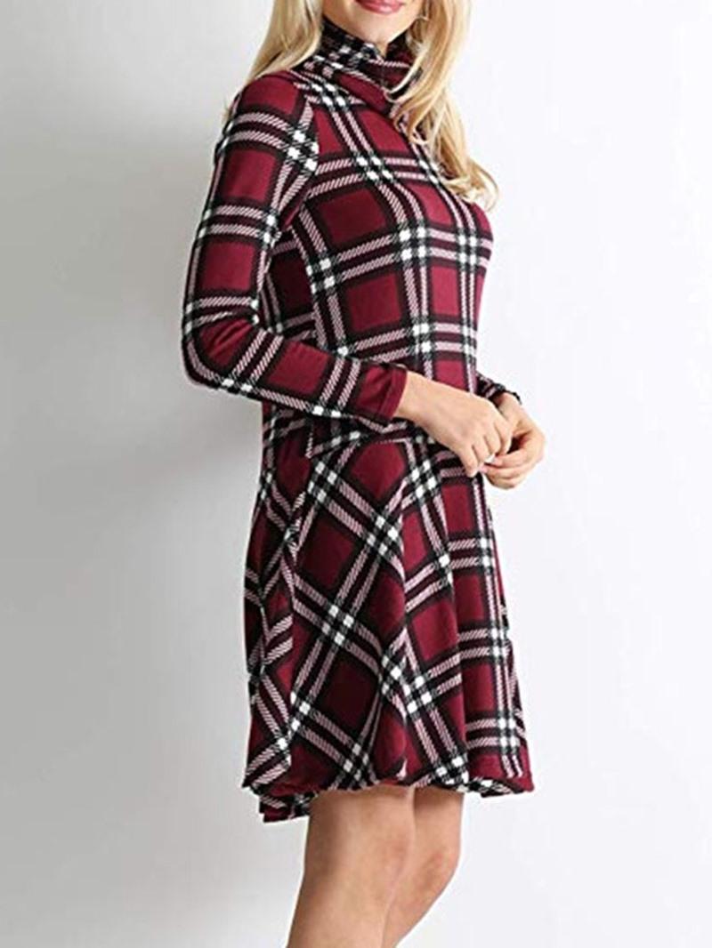 Ericdress Above Knee Heap Collar Print Low Waist Casual Dress