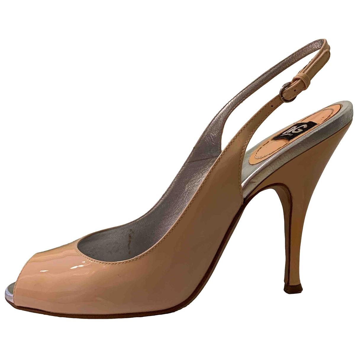 D&g - Sandales   pour femme en cuir verni - rose