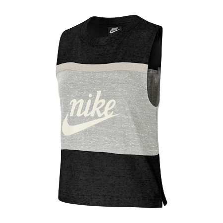 Nike Womens Crew Neck Sleeveless Tank Top, Large , Black