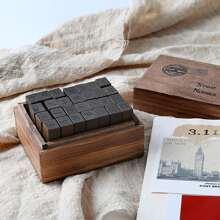 28 Stuecke Vintage Holzstempel