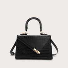 Bolsa cartera con diseño de cocodrilo con cerradura girante