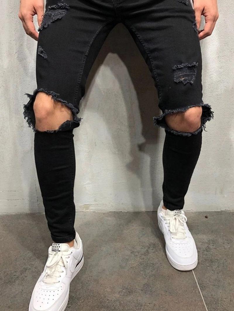 Ericdress Zipper Plain Mens Jeans