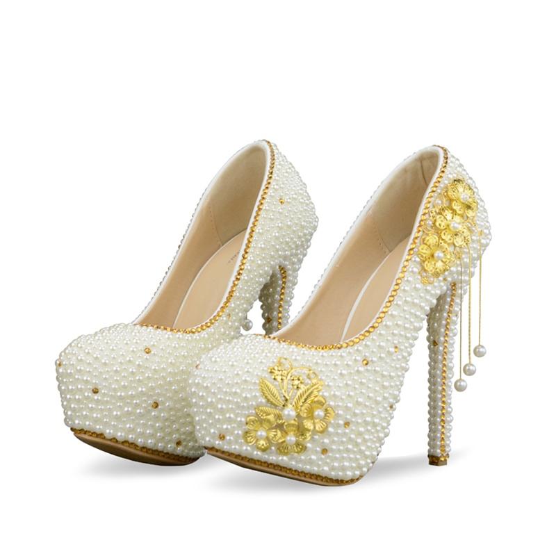 Ericdress Beads Round Toe Platform Wedding Shoes