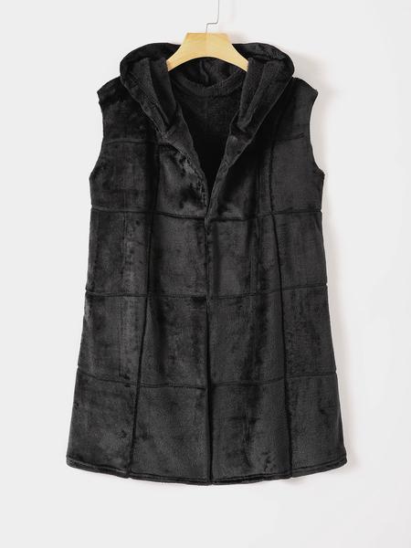 Yoins Fleece Zip Front Hooded Waistcoat