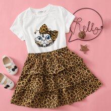 Girls Cat Print Top & Layered Leopard Skirt Set