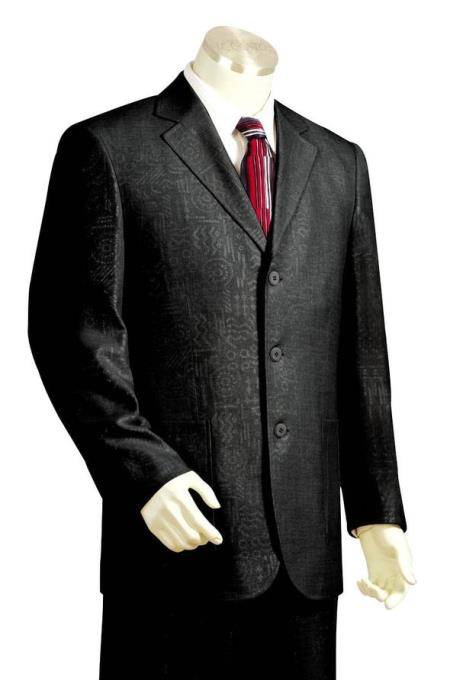 Mens Primordial Shapes Emblazone Notch Lapel Black Zoot Suit