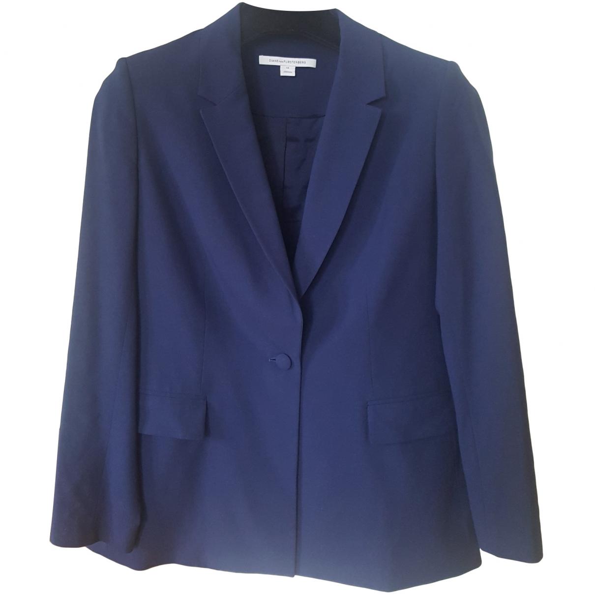 Diane Von Furstenberg \N Navy Wool jacket for Women 14-16 US