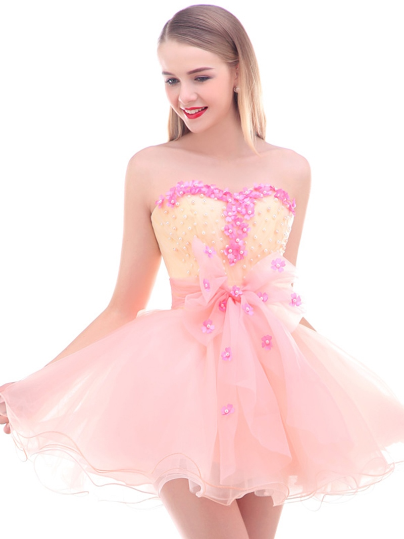Ericdress Sweetheart Flowers Pearls Short Homecoming Dress