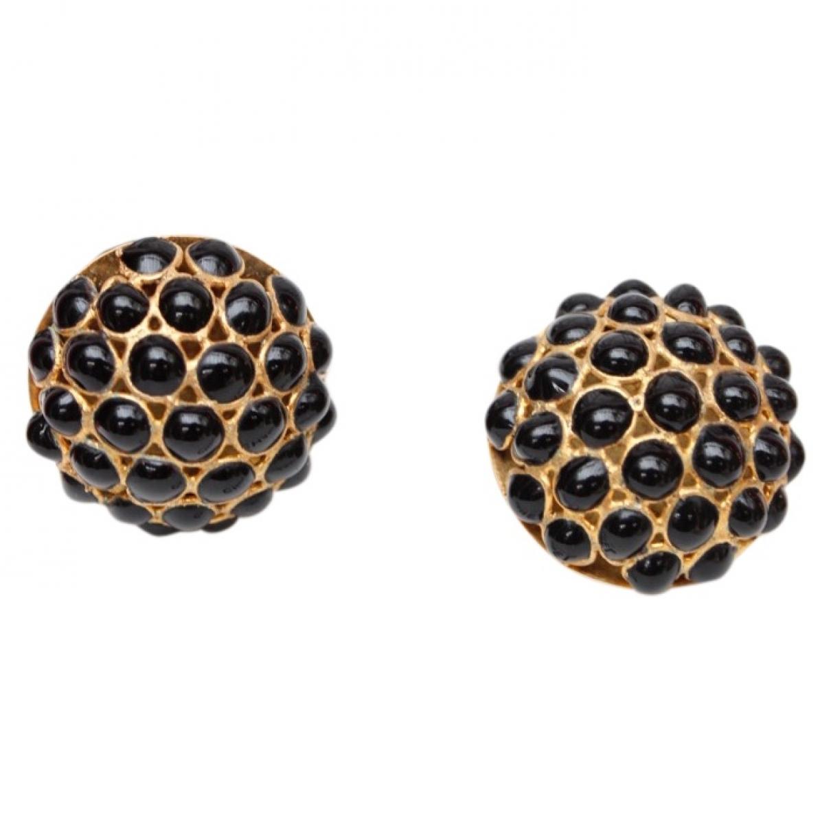 Chanel Baroque Black Metal Earrings for Women \N