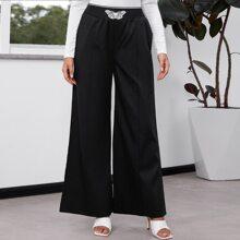 Pantalones de pierna ancha con estampado de mariposa