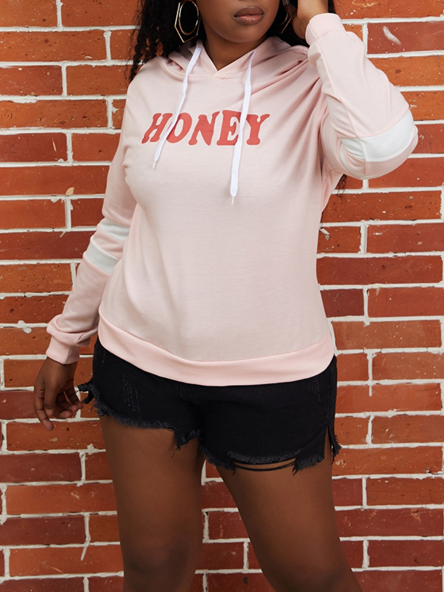 LW lovely Casual Hooded Collar Letter Print Pink Hoodie
