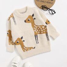 Toddler Girls Deer Print Fluffy Sweater