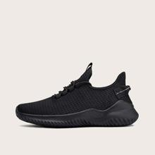 Schwarz Einfarbig bequem Maenner Sneaker