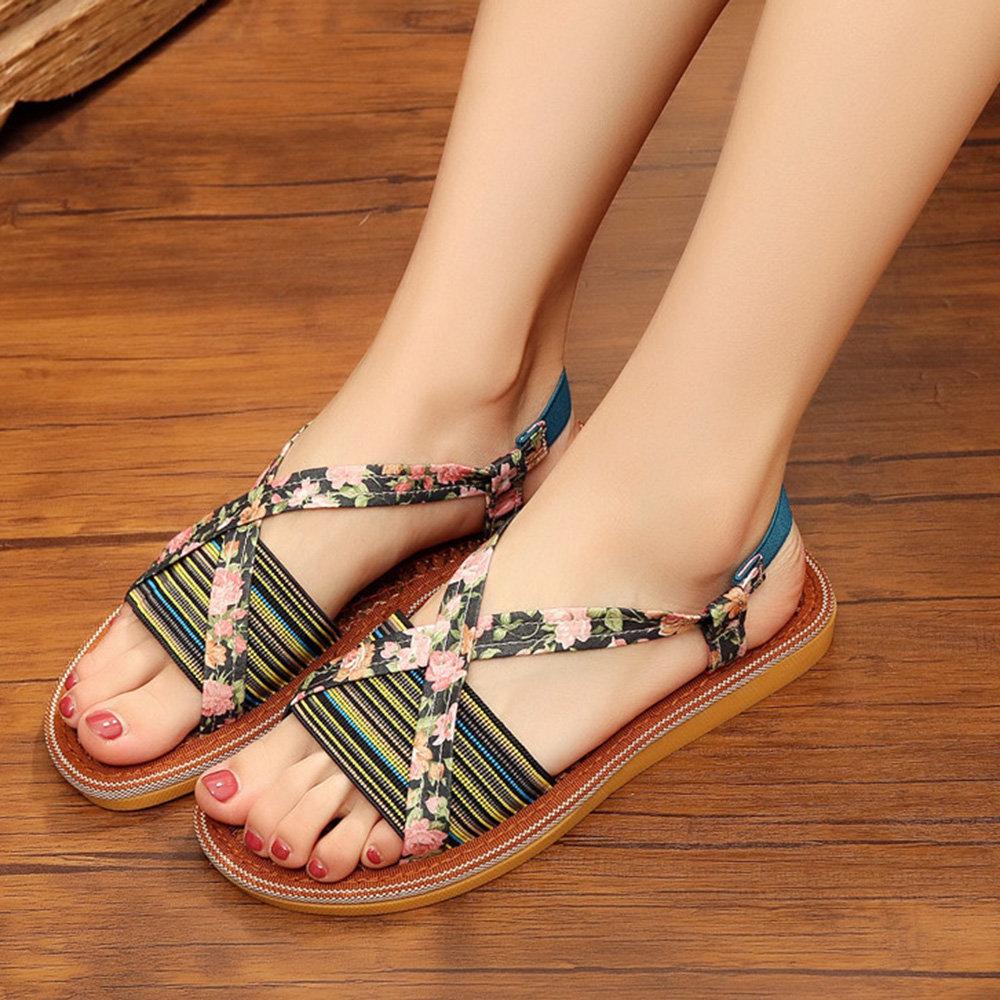Flower Print Flat Sandals For Women
