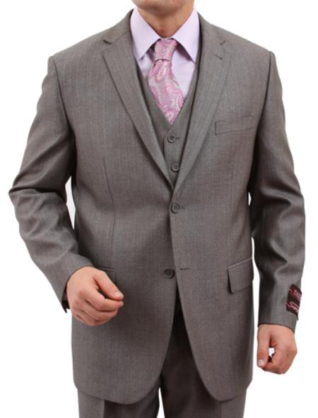 2 Button Solid Grey Textured Front Closure Suit Mens Cheap