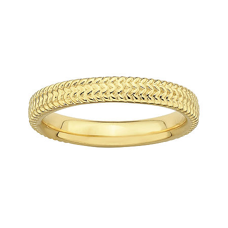 Personally Stackable 18K Yellow Gold Over Sterling Silver Braid Ring, 7 , No Color Family