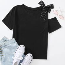 Polka Dot Contrast Mesh Bow Cut Out Tee