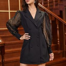 Bishop Sleeve Self Belted Blazer Dress
