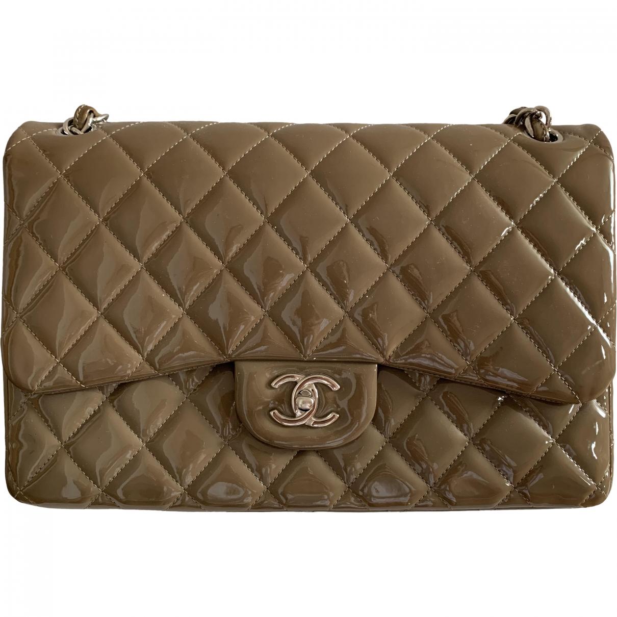 Chanel - Sac a main Timeless/Classique pour femme en cuir verni - beige