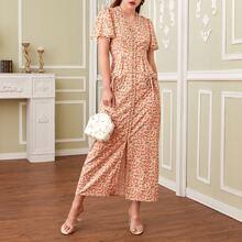 Kleid mit Bluemchen Muster, Ruesche und doppelten Taschen