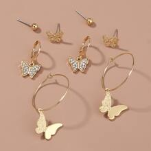 4pairs Butterfly Design Earrings