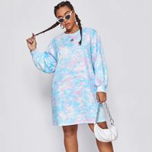 Plus Tie Dye Sweatshirt Dress